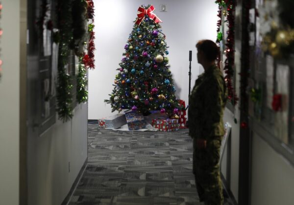 A decorated tree stands in the NORAD Tracks Santa Center at Peterson Air Force Base,