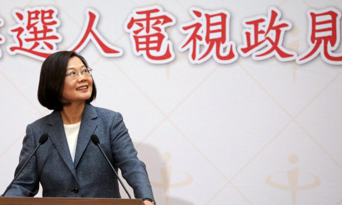 Taiwan President Tsai Ing-wen talks to the media after the second live policy address ahead of January's election in Taipei, Taiwan on Dec. 25, 2019. (Ann Wang/Reuters)
