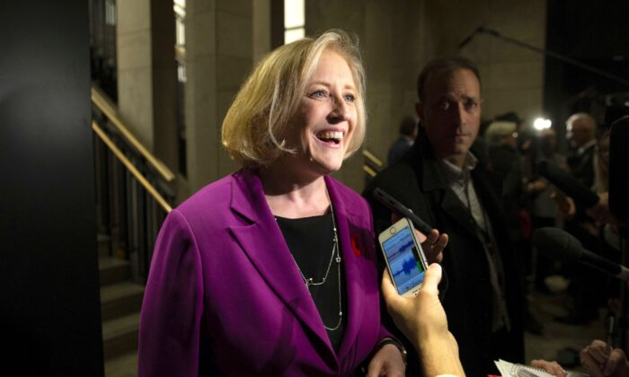 Former Conservative MP Lisa Raitt, who lost her seat in the election, speaks to reporters before attending a caucus meeting on Parliament Hill in Ottawa on Nov. 6, 2019. Raitt will help lead the effort to elect party leader Andrew Scheer's replacement. (The Canadian Press/Justin Tang)