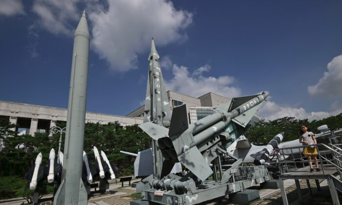 A replica of a North Korean Scud-B missile (L) and South Korean Nike missiles (R) are displayed at the Korean War Memorial in Seoul on Aug. 2, 2019. (Jung Yeon-je/AFP via Getty Images)
