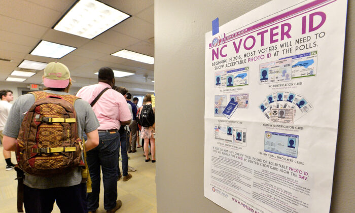 North Carolina State University students wait in line to vote in the primaries at Pullen Community Center in Raleigh, N.C., on March 15, 2016.  Sara D. Davis/Getty Images