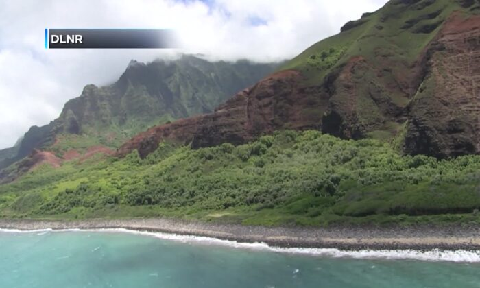Coast Guard crews are searching by air and in the water for an overdue helicopter with seven people onboard that failed to return from a tour off Kauai's Na Pali coast. (Courtesy of Hawaii DLNR)