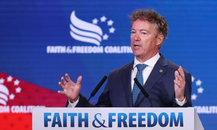 Sen. Rand Paul (R-Ky.) addresses the Faith and Freedom Coalition's Road to Majority Policy Conference on June 27, 2019 in Washington. (Chip Somodevilla/Getty Images)