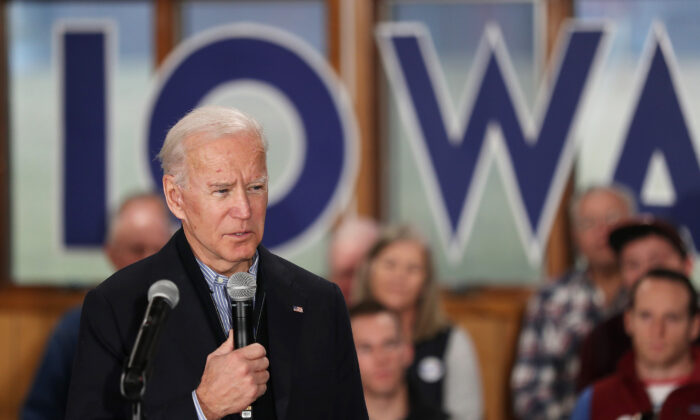 Democratic presidential candidate, former Vice President Joe Biden makes a campaign stop at Tipton High School in Tipton, Iowa, on Dec. 28, 2019. (Joe Raedle/Getty Images)