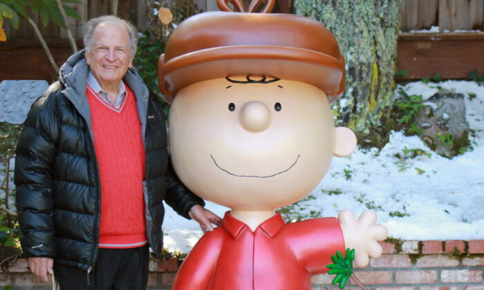 "This 2015 photo provided by Jason Mendelson shows Lee Mendelson in Hillsborough, Calif. Lee Mendelson, the producer who changed the face of the holidays when he brought ""A Charlie Brown Christmas"" to television in 1965 and wrote the lyrics to its signature song, ""Christmas Time Is Here,"" died on Christmas day, Dec. 25, 2019. (Jason Mendelson via AP)"