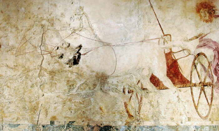 Hades abducting Persephone depicted on a fresco in the small royal tomb at Vergina, Macedonia, Greece, circa 340 B.C. (Public Domain)