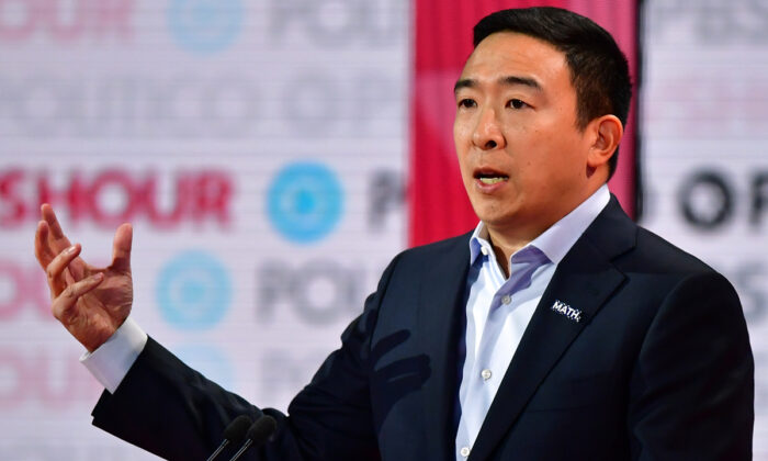 Democratic presidential hopeful Andrew Yang speaks during the sixth Democratic primary debate of the 2020 presidential campaign season co-hosted by PBS NewsHour & Politico at Loyola Marymount University in Los Angeles, Calif., on Dec. 19, 2019.  Frederic J. Brown/AFP via Getty Images