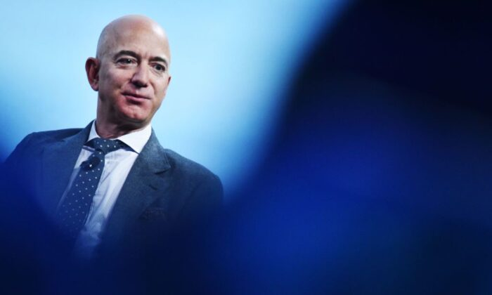 Jeff Bezos speaks after receiving the 2019 International Astronautical Federation (IAF) Excellence in Industry Award during the the 70th International Astronautical Congress in Washington, on Oct. 22, 2019. (Mandel Ngan/AFP/Getty Images)
