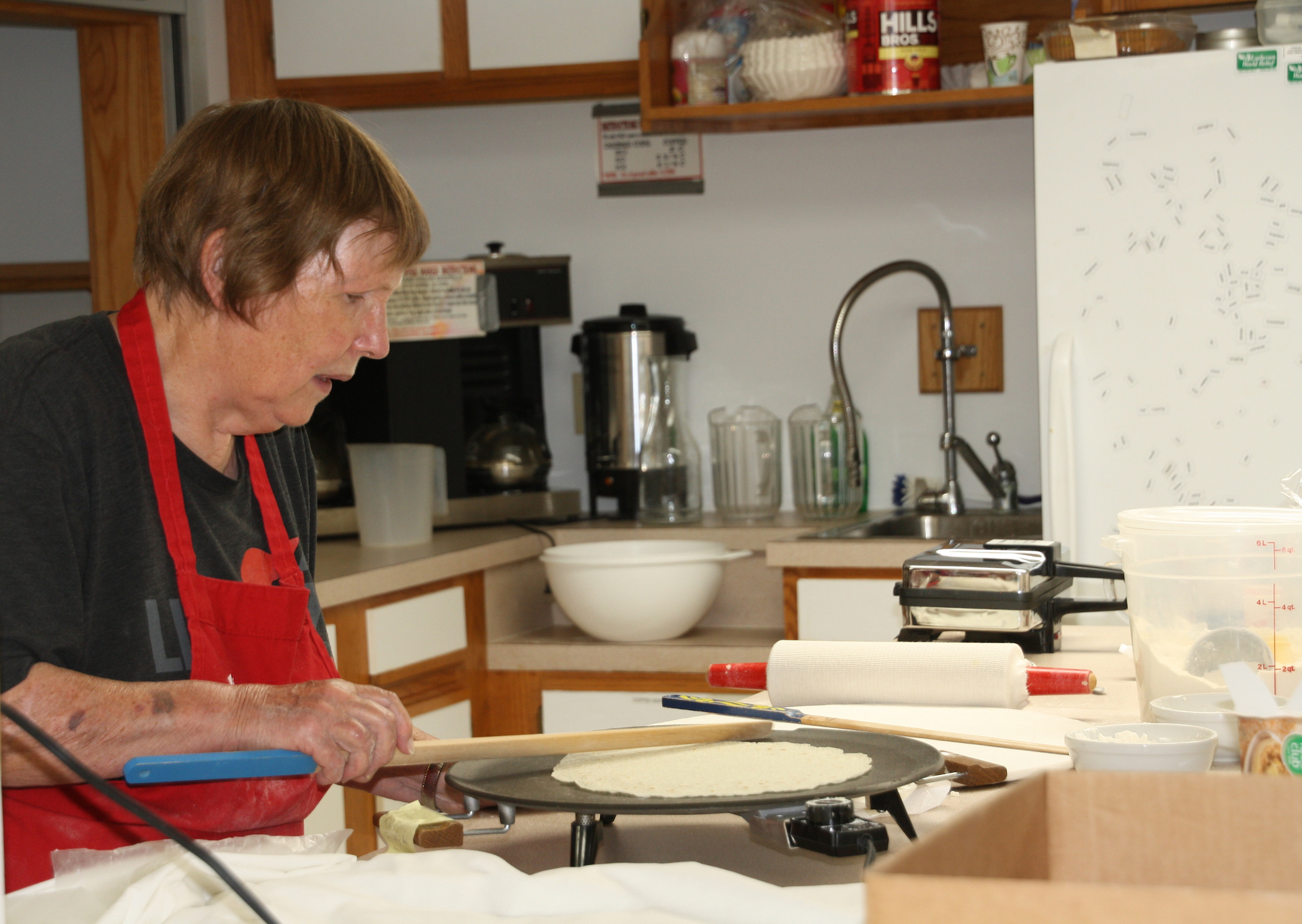 Eva Anseth making lefse