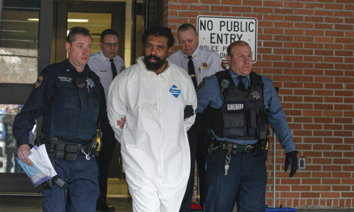 Suspect in Hanukkah celebration stabbings Thomas Grafton, 37 years old from Greenwood Lake,  leaves the Ramapo Town Hall in Airmont, New York after being arrested on Dec. 29, 2019. (Photo by Kena Betancur/AFP via Getty Images)