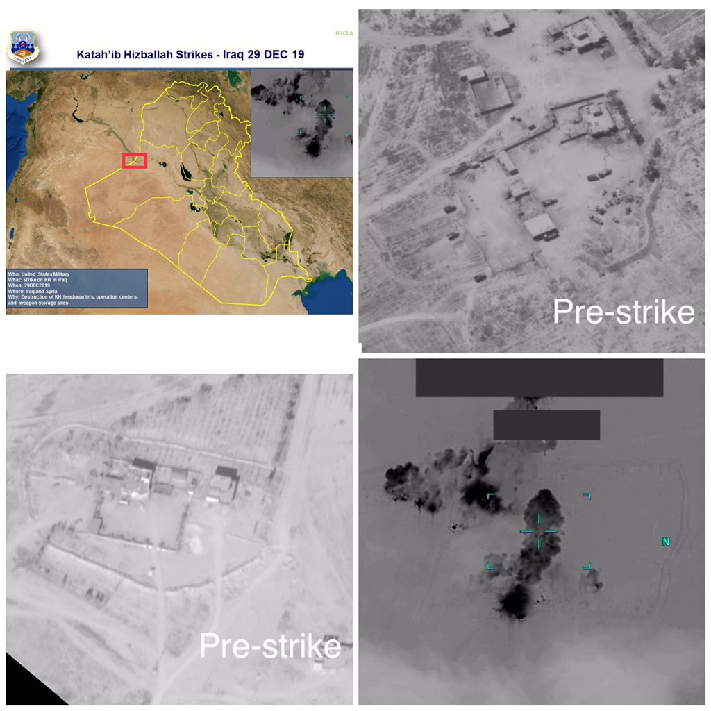 A combination of images depicts what the U.S. military says are bases of the Kataib Hezbollah militia group that were struck by U.S. forces, in the city of Al-Qa'im