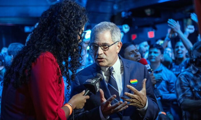 Philadelphia District Attorney Larry Krasner speaks to a reporter at the election party of public defender Tiffany Caban running in the Queens District Attorney Democratic Primary election, in the Queens borough of New York City, on June 25, 2019. (Scott Heins/Getty Images)