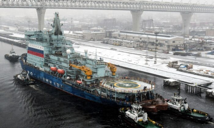 Russia's nuclear-powered icebreaker Arktika, touted as the strongest of its kind and a symbol of Moscow's ambition to tap the Arctic's commercial potential, returns to Saint Petersburg on Dec. 14, 2019, after a two-day test run. (Olga Maltseva/AFP via Getty Images)