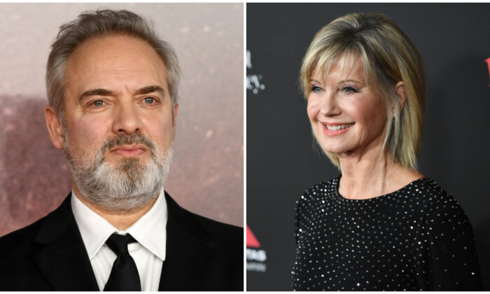 L-Director Sam Mendes in London, England, on Dec. 04, 2019. (Gareth Cattermole/Getty Images); R-Presenter Olivia Newton-John, in LA, California, Jan. 27, 2018. (Robyn Beck/AFP via Getty Images)
