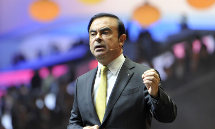 Carlos Ghosn speaks at the Geneva Motor Show in Geneva, Switzerland, on March 1, 2016. (Harold Cunningham/Getty Images)