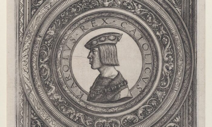 A detail from the portrait of Emperor Charles V, circa 1519, by Daniel Hopfer. Etching, plate. Gift of Junius S. Morgan, 1919; The Metropolitan Museum of Art, New York. (Public Domain)