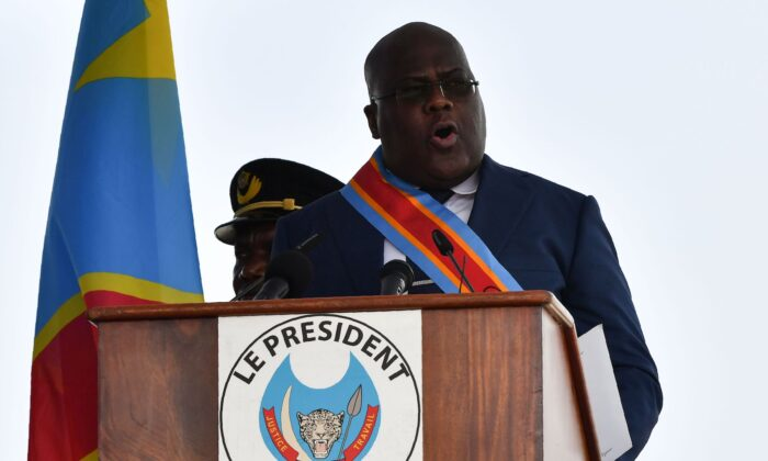 File photo: Democratic Republic of the Congo's President Felix Tshisekedi delivers a speech after he took the oath of office during his inauguration ceremony at the Presidency in Kinshasa on Jan. 24, 2019. (Tony Karumba/AFP via Getty Images)