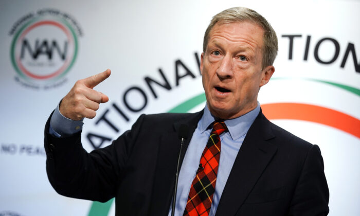 Democratic presidential candidate Tom Steyer speaks at the National Action Networks Southeast Regional Conference in Atlanta, Ga., on Nov. 21, 2019.  (Elijah Nouvelage/Getty Images)