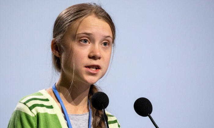 Swedish environment activist Greta Thunberg gives a speech at the plenary session during the COP25 Climate Conference in Madrid on Dec. 11, 2019. (Pablo Blazquez Dominguez/Getty Images)