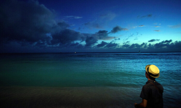 A man looks out over Waikiki Bay during dusk in Honolulu, Hawaii, on Dec. 19, 2015.  Brendan Smialowski/AFP via Getty Images