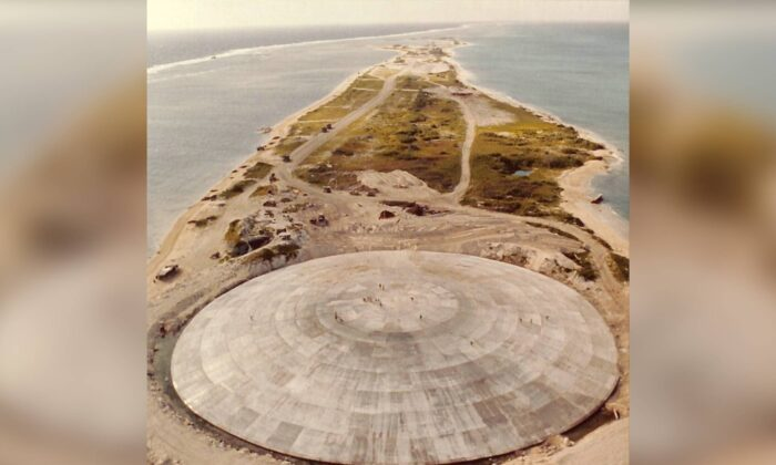 The concrete dome on Runit Island, Enewetak Atoll, in a file photo. (U.S. Defense Special Weapons Agency/Public Domain/Wikimedia Commons)