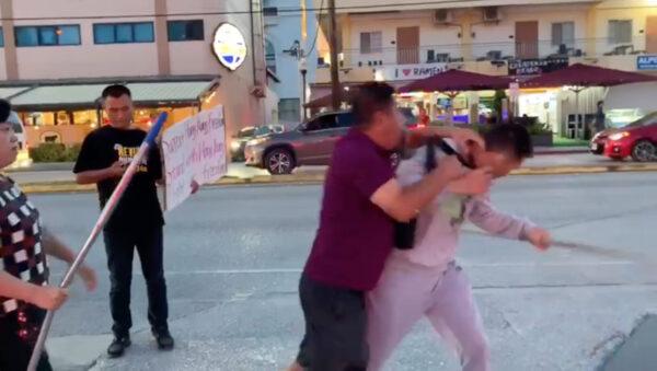 protest clash saipan