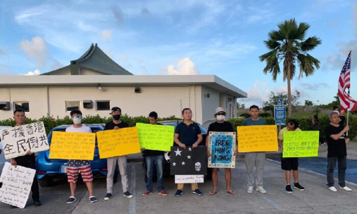 Chinese activists march in support of Hong Kong protests in Saipan on Dec. 29, 2019. (Courtesy of Li Min)
