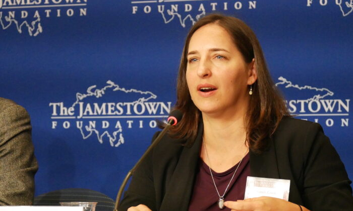 Sarah Cook, China analyst at Freedom House, at an event at the Jamestown Foundation on Oct. 15, 2019. (Li Chen/The Epoch Times)