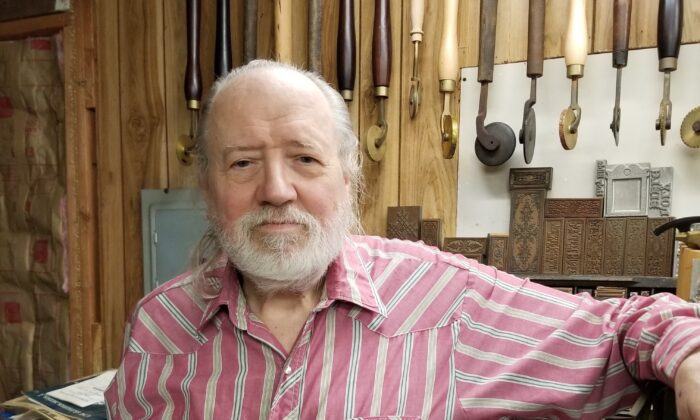 Bookbinder Edward Stansell in his workshop on Dec. 26, 2019. (Sandy Stansell)