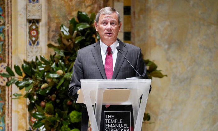 U.S. Chief Justice John G. Roberts, Jr. speaks onstage during A Conversation With Chief Justice of the United States John G. Roberts, Jr. at Temple Emanu-El in New York City on Sept. 24, 2019. (Cindy Ord/Getty Images for The Temple Emanu-El Streicker Center)