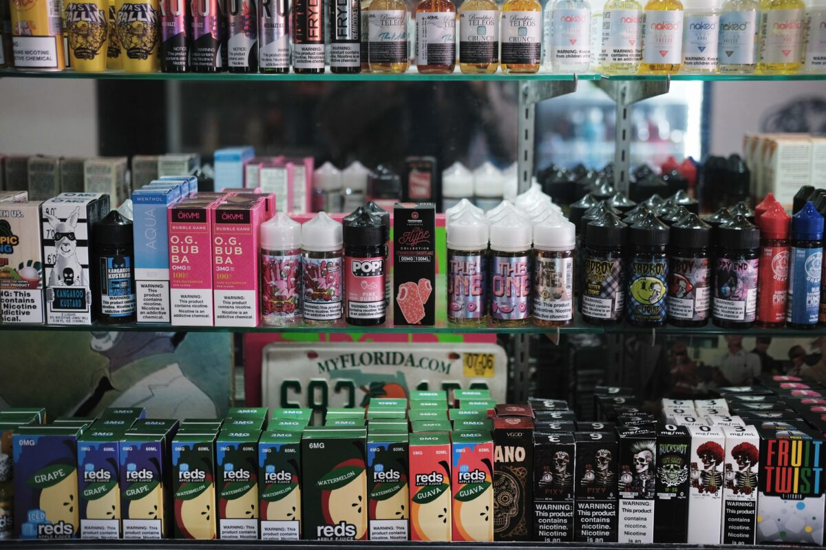 Vaping products, including flavored vape liquids and pods