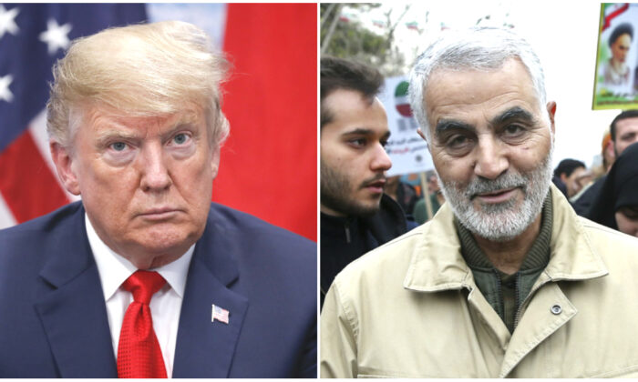 (L) President Donald Trump in Buenos Aires, Argentina, on Nov. 30, 2018. (Pablo Martinez Monsivais/AP) (R) Revolutionary Guard Gen. Qassem Soleimani attends an annual rally commemorating the anniversary of the 1979 Islamic revolution, in Tehran, Iran on Feb. 11, 2016. (Ebrahim Noroozi/AP Photo)
