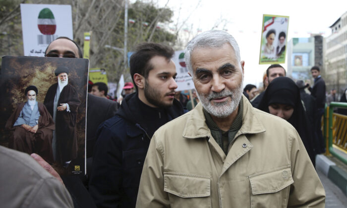 Qassem Soleimani, commander of Iran's Quds Force, attends an annual rally commemorating the anniversary of the 1979 Islamic revolution, in Tehran, Iran on Feb. 11, 2016. (AP Photo/Ebrahim Noroozi, File)