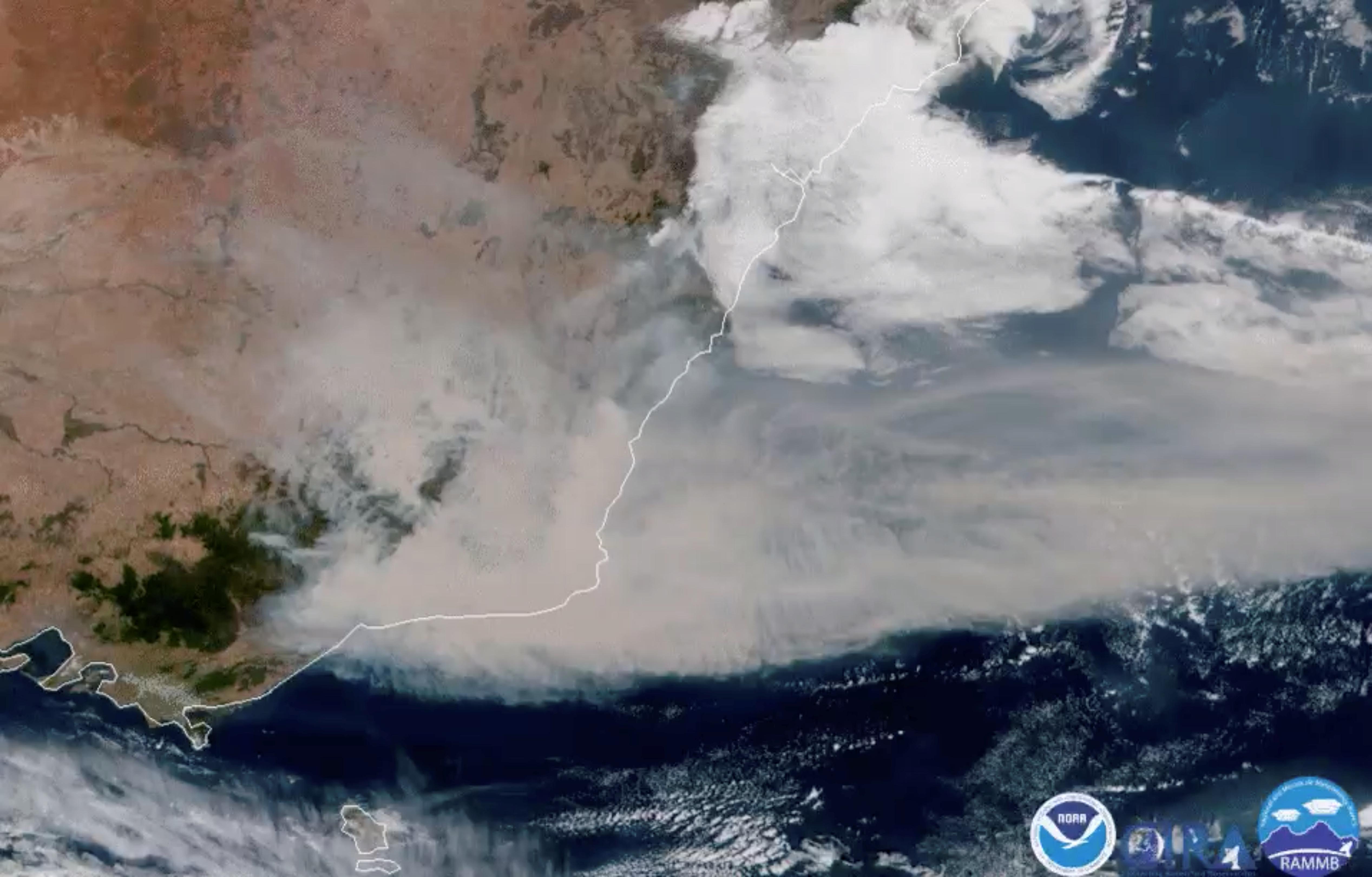 A satellite image shows bushfire smoke