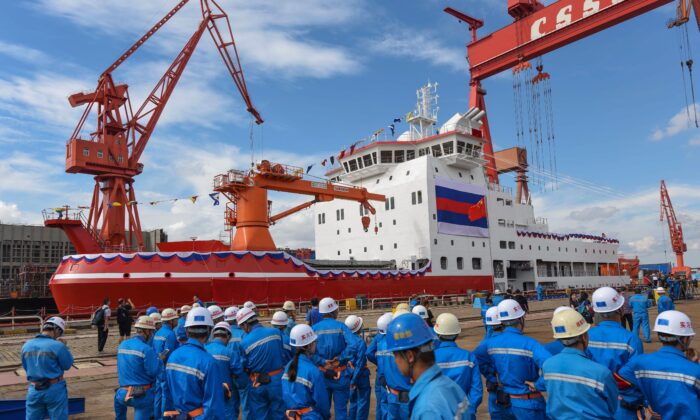 China's icebreaker, Xuelong 2, at a launch ceremony at a shipyard in Shanghai, China on Sept. 10, 2018. (STR/AFP via Getty Images)