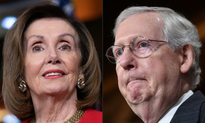 House Speaker Nancy Pelosi (D-Calif.) at a press conference on Capitol Hill on, Dec. 19, 2019, and Senate Majority Leader Mitch McConnell (R-Ky.) at a media availability on Capitol Hill in Washington on Nov. 7, 2018. (Saul Loeb and Nicholas Kamm/AFP via Getty Images)