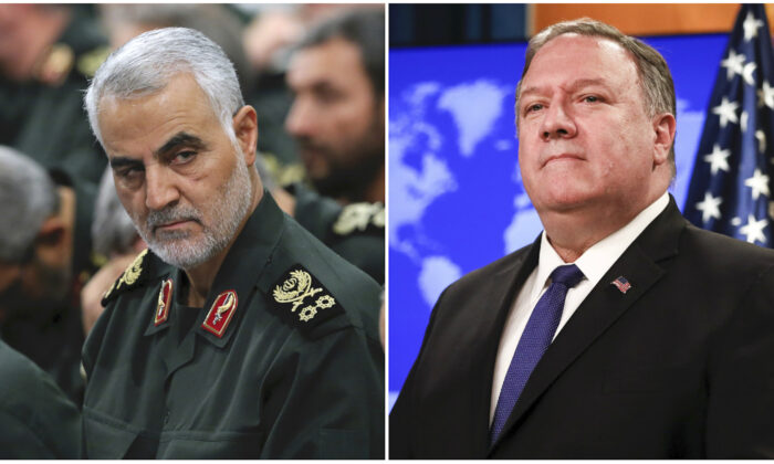 L: Revolutionary Guard Gen. Qassem Soleimani, center, attends a meeting in Tehran, Iran on Sept. 18, 2016. (Office of the Iranian Supreme Leader via AP, File) R: Secretary of State Mike Pompeo speaks during a media briefing at the State Department in Washington on June 10, 2019. (Samira Bouaou/The Epoch Times)