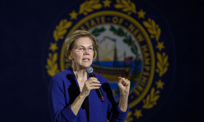 Sen. Elizabeth Warren (D-Mass.) speaks on stage during her first campaign event of 2020 in Concord, New Hampshire on Jan. 2, 2020. The Iowa caucuses, the first nominating contest in the Democratic presidential primary season, will take place on Feb. 3, 2020. (Scott Eisen/Getty Images)