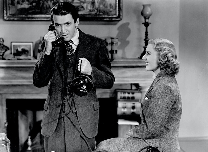 "man on telephone, woman seated in ""Mr. Smith Goes to Washington"""