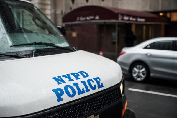 A New York Police Department vehicle parks at Fifth Avenue Synagogue