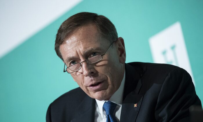Retired U.S. Army General David Petraeus speaks in Washington in a file photograph. (Drew Angerer/Getty Images)