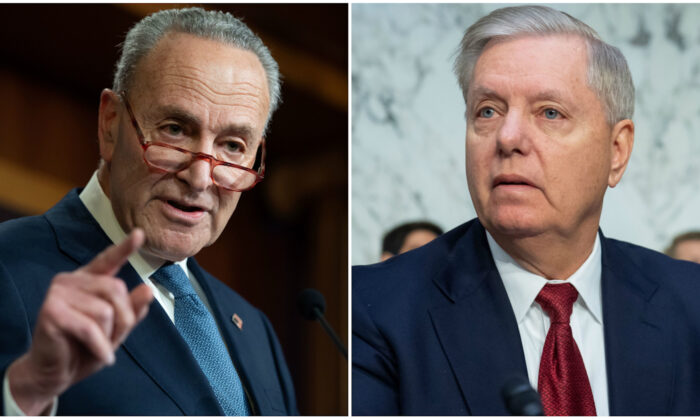(L) Senate Minority Leader Chuck Schumer (D-N.Y) holds a press conference at the U.S. Capitol in Washington on Dec. 16, 2019. (R) Chairman of the Senate Judiciary Committee Lindsey Graham (R-S.C.) at a Senate Judiciary Committee hearing on Capitol Hill in Washington on Dec.11, 2019. (Saul Loeb/AFP via Getty Images)