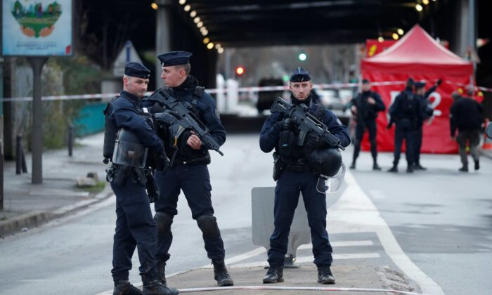 French police secure an area in Villejuif near Paris, France, on Jan. 3, 2020, after police shot dead a man who tried to stab several people in a public park. (Charles Platiau/File Photo/Reuters)
