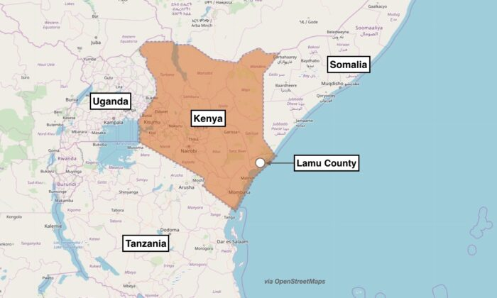 Map showing the approximate location of the terror attack in Lamu County, Kenya. The U.S. military said an Al-Qaeda affiliated group attacked Manda Bay Airfield, Kenya, on Jan. 5, 2020. (OpenStreetMaps)