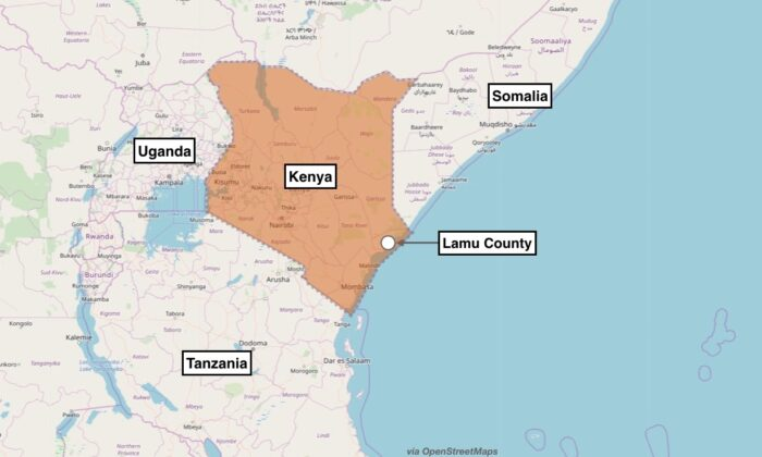 Map showing the approximate location of the terror attack in Kenya. The U.S. military said an Al-Qaeda affiliated group attacked Manda Bay Airfield, Kenya, on Jan. 5, 2020. (OpenStreetMaps)