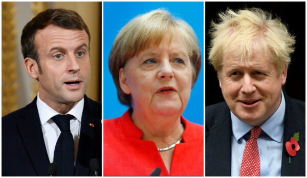 Heads of state of the E3 group of countries: (L) French President Emmanuel Macron during a news conference at the Elysee Palace in Paris on April 25, 2019. (Philippe Wojazer/Reuters), (C) German Chancellor Angela Merkel attends a press conference after the board meeting of Germany's Christian Democratic Union (CDU) in Berlin, Germany, June 18, 2018. (Reuters/Hannibal Hanschke), (R) Britain's Prime Minister Boris Johnson is seen on Downing Street in London, Britain on Oct. 29, 2019. (Toby Melville/Reuters)