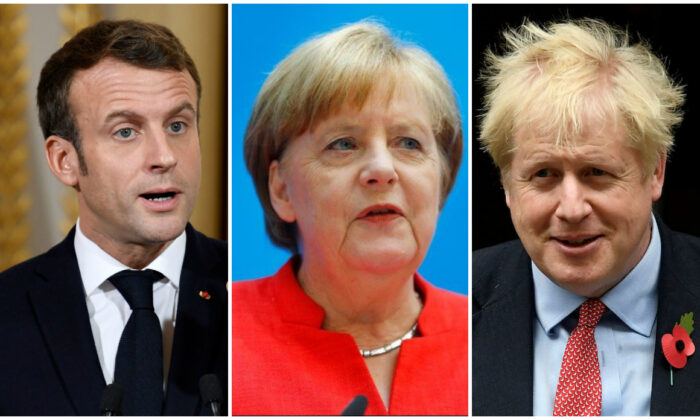 Heads of state of the E3 group of countries: (L) French President Emmanuel Macron in Paris on April 25, 2019. (Philippe Wojazer/Reuters), (C) German Chancellor Angela Merkel in Berlin, Germany, June 18, 2018. (Hannibal Hanschke/Reuters), (R) Britain's Prime Minister Boris Johnson in London on Oct. 29, 2019. (Toby Melville/Reuters)