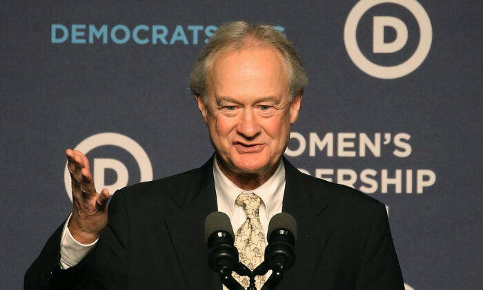 Former Gov. Lincoln Chafee (D-RI) announces his decision to drop out of the race for the 2016 Democratic Presidential nomination, at the Democratic National Committee's Women's Leadership Forum on Oct. 23, 2015 in Washington, DC. (Photo by Mark Wilson/Getty Images)