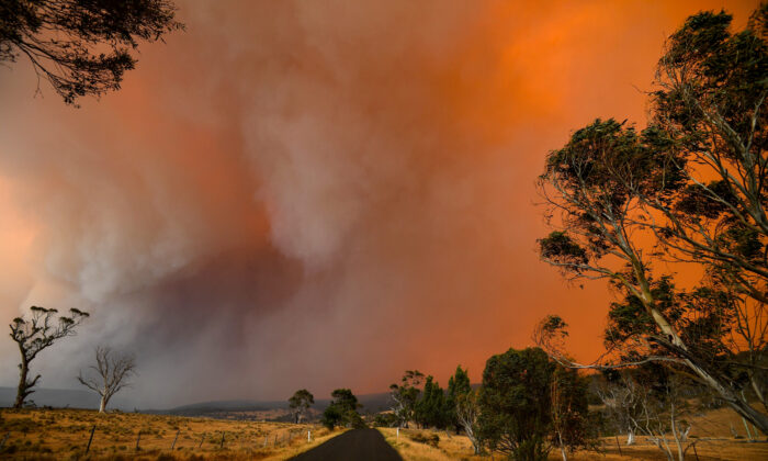 Ember and thick smoke from bushfires reach Braemar Bay in New South Wales on Jan. 4, 2020. SAEED KHAN/AFP via Getty Images
