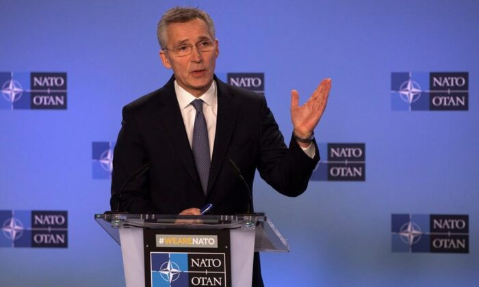 NATO secretary general Jens Stoltenberg speaks during a media conference after a meeting at NATO headquarters in Brussels on Jan. 6, 2020. (The Canadian Press/AP/Virginia Mayo)